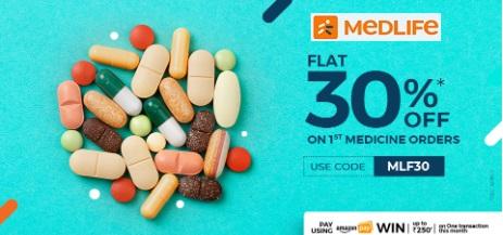 Medlife - FLAT 30% OFF on FIRST MEDICINE ORDER. USE CODE: MLF30